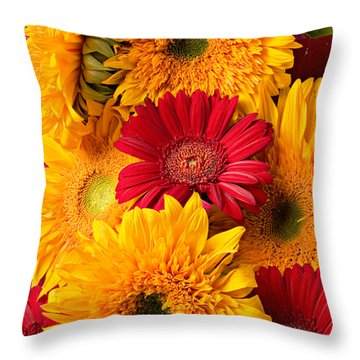Sunflowers And Red Mums Throw Pillow by Garry Gay