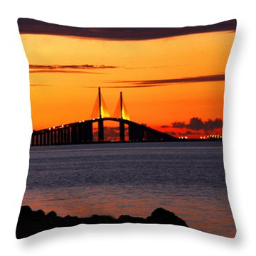 Sunset Over The Skyway Bridge Throw Pillow by Barbara Bowen