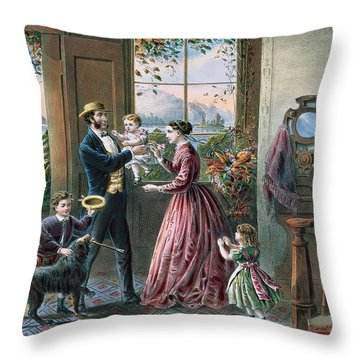 The Four Seasons Of Life  Middle Age Throw Pillow by Currier and Ives
