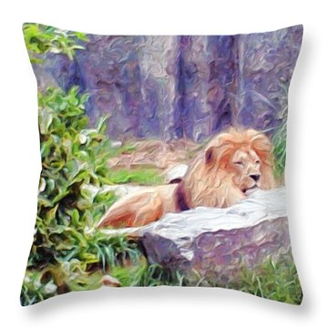 The King At Rest Throw Pillow by Methune Hively