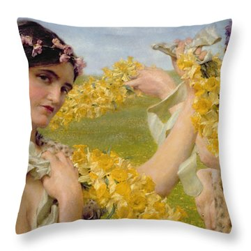 When Flowers Return Throw Pillow by Sir Lawrence Alma-Tadema