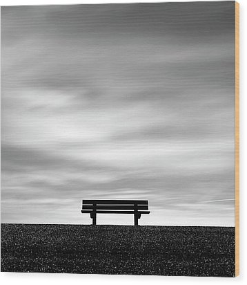 Bench, Long Exposure Wood Print by Kees Smans