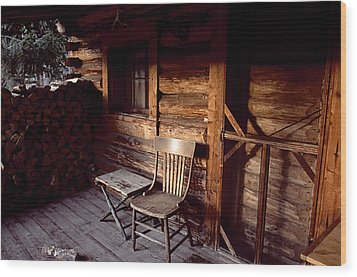 Firewood And A Chair On The Porch Wood Print by Joel Sartore