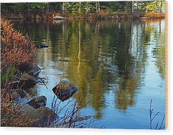 Morning Reflections On Chad Lake Wood Print by Larry Ricker