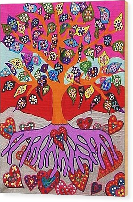My Heart Flowers For You Wood Print by Sandra Silberzweig