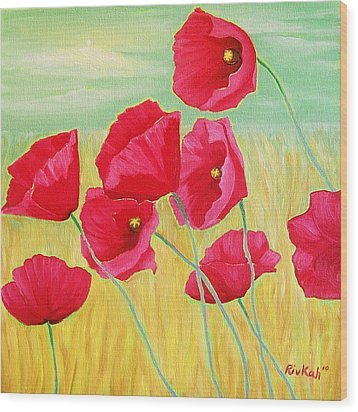 Pop Pop Poppies Wood Print by Rivkah Singh