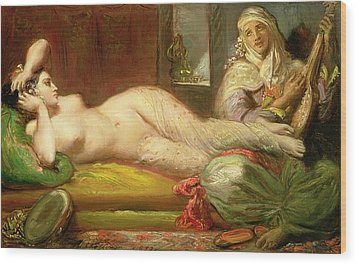 Reclining Odalisque Wood Print by Theodore Chasseriau