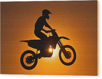 Silhouette Of Motocross At Sunset Wood Print by Shahbaz Hussain's Photos