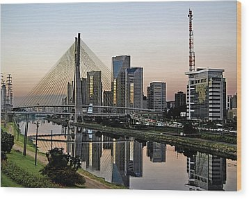 Stayed Bridge And Modern Sao Paulo Skyline Wood Print by Carlos Alkmin