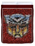 Autobot Transformer Bottle Cap Mosaic Duvet Cover by Paul Van Scott