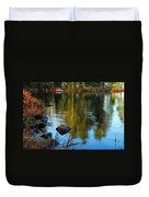 Morning Reflections On Chad Lake Duvet Cover by Larry Ricker