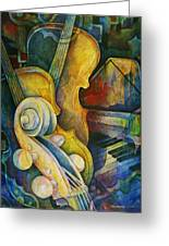 Jazzy Cello Greeting Card by Susanne Clark