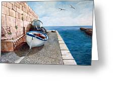 Boats At Rest Greeting Card by Irene Anna Vianello