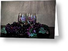 Hand Painted Wine Glasses Grapes And More Grapes  Greeting Card by Sherry Hallemeier