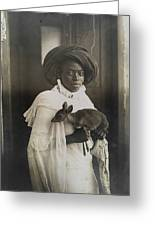 A Young Kenyan Woman Holds Her Pet Deer Greeting Card by Underwood And Underwood