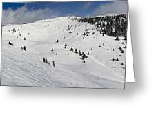 Blue Sky Basin Panorama - Vail Colorado Greeting Card by Brendan Reals