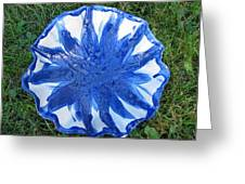 Blue Sunflower Vessel Greeting Card by Julia Van Dine