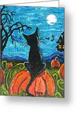Cat In Pumpkin Patch Greeting Card by Paintings by Gretzky