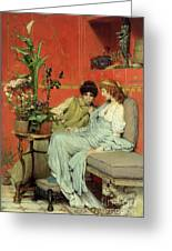 Confidences Greeting Card by Sir Lawrence Alma-Tadema