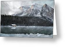 Cozy Cabin Morning Greeting Card by Andrea Hazel Ihlefeld