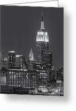 Empire State And Chrysler Buildings At Twilight II Greeting Card by Clarence Holmes