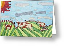 Family On Green Pastures Greeting Card by Stephanie Ward