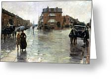 Hassam: Rainy Boston, 1885 Greeting Card by Granger