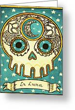 La Luna Calavera Loteria Greeting Card by Maryann Luera