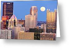 Moon Over Pittsburgh 2 Greeting Card by Emmanuel Panagiotakis