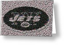 New York Jets Bottle Cap Mosaic Greeting Card by Paul Van Scott