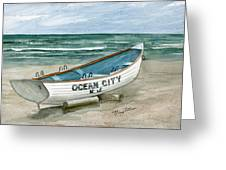 Ocean City Lifeguard Boat Greeting Card by Nancy Patterson