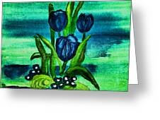 Painted Blue Tulips Greeting Card by Marsha Heiken