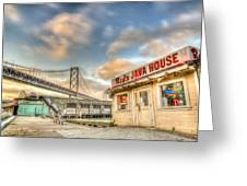 Red's And The Bay Bridge Greeting Card by Scott Norris