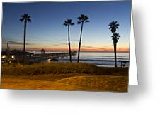 San Clemente Pier At Sunset Greeting Card by Barbara Eads
