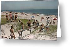 Sunbathers And Beach Umbrellas Dot Greeting Card by Willard Culver