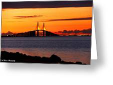 Sunset Over The Skyway Bridge Greeting Card by Barbara Bowen