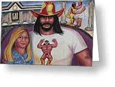 Suzanne With The Macho Man Greeting Card by Suzanne  Marie Leclair