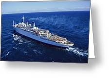 The American Hawaii Cruise Ship Leaving Greeting Card by Maria Stenzel