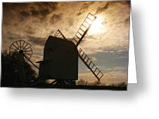 Windmill At Dusk  Greeting Card by Pixel Chimp