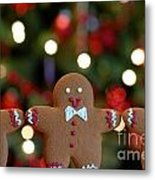 Gingerbread Men In A Line Metal Print by Amy Cicconi
