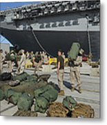 Marines Move Gear During An Embarkation Metal Print by Stocktrek Images