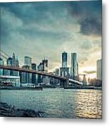 Nyc Skyline In The Sunset V1 Metal Print by Hannes Cmarits