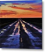 Rainy Highway Metal Print by Benjamin Yeager