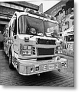 Vancouver Fire Rescue Services Truck Engine Outside Hall 2 In Downtown Eastside Bc Canada Metal Print by Joe Fox