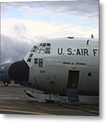 Nose Cone Detail On A Lc-130h Aircraft Metal Print by Timm Ziegenthaler