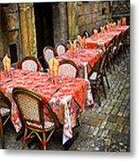 Restaurant Patio In France Metal Print by Elena Elisseeva