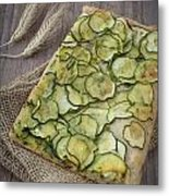 Sliced Pizza With Zucchini Metal Print by Sabino Parente