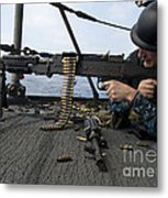 A Sailor Fires An M-240b Machine Gun Metal Print by Stocktrek Images