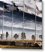 American Flag Still Standing Metal Print by Luther   Fine Art