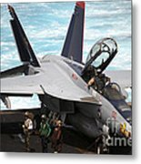 An Fa-18f Super Hornet Sits Metal Print by Stocktrek Images